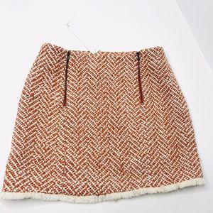 Line & Dot Horowitz Burnt Orange Tweed Mini Skirt